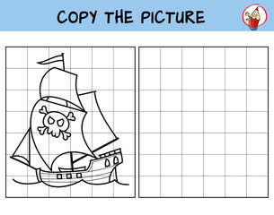 Pirate ship. Copy the picture. Coloring book. Educational game for children. Cartoon vector illustration