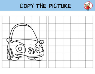 Funny little car. Copy the picture. Coloring book. Educational game for children. Cartoon vector illustration