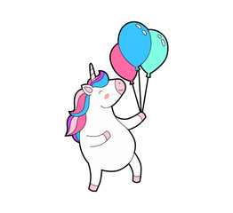 Cute fat unicorn happy jumps with balloons in hand. Unicorn isolated vector icon.