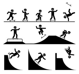 Illustration in form of pictograms which represent doing acrobatics with skateboard. Skateboard tricks and stunts. Riding skateboard on a ramp. Enjoyment in extreme adrenaline sport.
