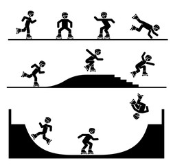Illustration in form of pictograms which represent doing acrobatics with roller skates. Jumping rollers. Roller skates tricks and stunts. Riding roller skates on a ramp.