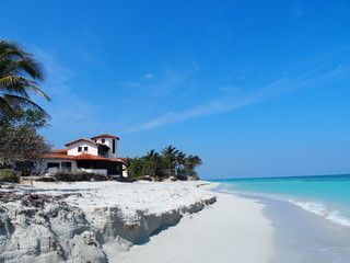 Home at sandy beach at Caribbean Sea in Varadero city in Cuba