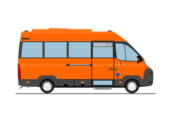 Cartoon bus. Side view. Flat vector.