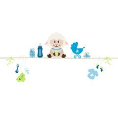 Sheep & Baby Symbols Boy Retro