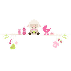 Sheep & Baby Symbols Girl Retro