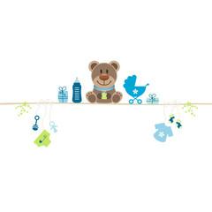 Brown Teddy & Baby Symbols Boy Retro