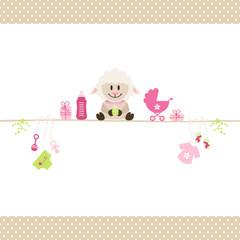 Sheep & Baby Symbols Girl Retro Dots Beige