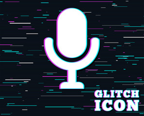 Glitch effect. Microphone icon. Speaker symbol. Live music sign. Background with colored lines. Vector