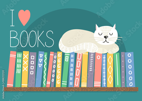 I Love Books On Shelf With White Cat Ornament Teal
