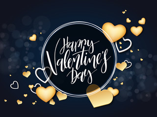 Vector illustration of valentine's day greetings card with hand lettering label - happy valentine's day - with a lot of heart shapes