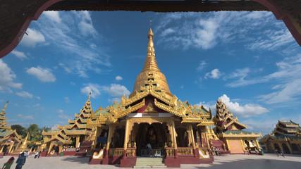 Golden Temple in Myanmar with blue sky