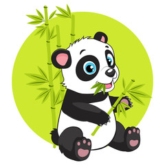 Cute Baby Panda Bear In Bamboo Forest Vector Image. Cartoon Panda Eats Bamboo Branch Vector Illustration. Panda Bear Costume. Magic Nature.