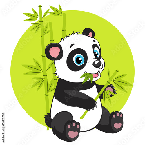 cute baby panda bear in bamboo forest vector image cartoon panda