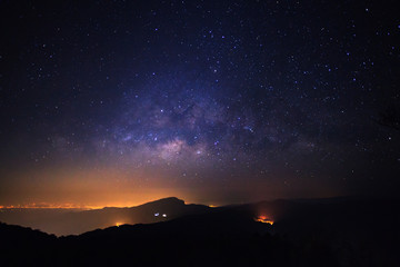 Milky way galaxy with stars and space dust in the universe at Doi inthanon Chiang mai, Thailand