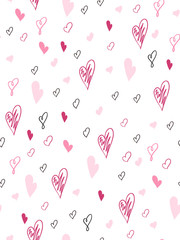 vector seamless valentine's day love pattern from doodle hand drawn hearts