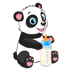 Cute Baby Panda With Feeding Bottle Cartoon Vector Character. Panda Bear Costume. Baby Feed Theme.