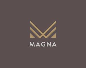 Abstract letter M logo design. Linear elegant vector icon symbol. Premium business finance media monogram logotype.