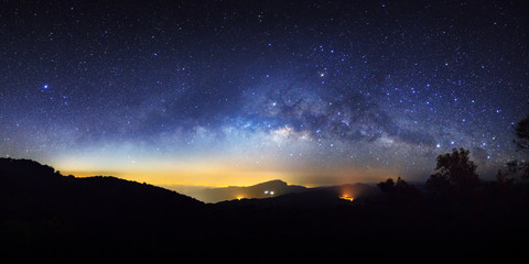Panorama starry night sky and milky way galaxy with stars and space dust in the universe at Doi inthanon Chiang mai, Thailand