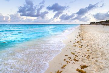 Sunrise on the beach of Caribbean sea, Mexico