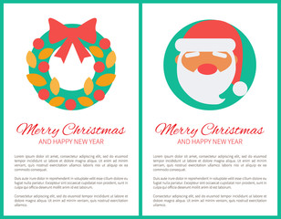 Merry Christmas Santa and Wreath Vector Illustration
