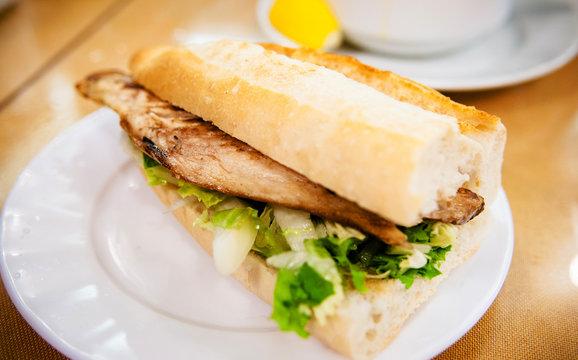 Turkish Balik Ekmek Fish sandwich.. Traditional Turkish fastfood.