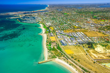 Aerial view of Fremantle Harbour, near Perth, the Western Australia's largest and busiest general cargo port. Scenic flight over Fishing Boat Harbour and South Beach, Australia.