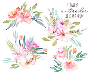 Watercolor field carnations, rose and green branches bouquets set, hand drawn on a white background
