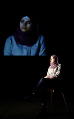 Altaia attends a rehearsal for the Greek tragedy 'Iphigenia' with Syrian refugee women at Volksbuehne Theatre in Berlin