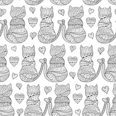 Romantic cats seamless pattern. Great for coloring book, wrapping, printing, fabric and textile. Vector illustration