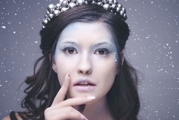 Front view of charming ice queen's face