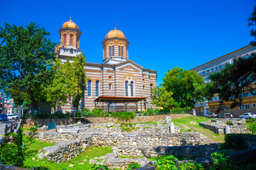 Walls of the ancient citadel ruins of Histria near Saint Andrei christian church of Constanta in Romania