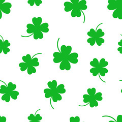 Four leaf clover seamless pattern background. Business flat vector illustration. Clover sign symbol pattern.
