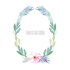 Watercolor pink field carnation and green branches oval frame, hand drawn on a white background, invitation card design