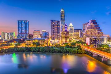 Fototapete - Austin, Texas, USA downtown skyline over the river.