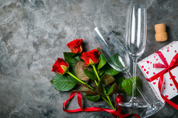 Valentine's day concept - presents, flowers and glasses