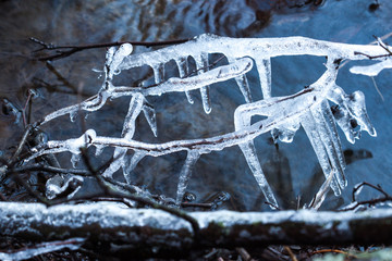 Big icicles at a river in winter
