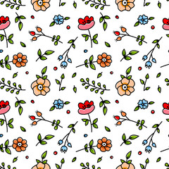 Cute cartoon floral seamless pattern