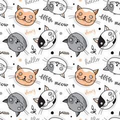 Cute seamless cat pattern