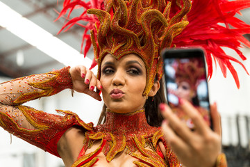 Brazilian Woman Taking a Selfie on Carnaval