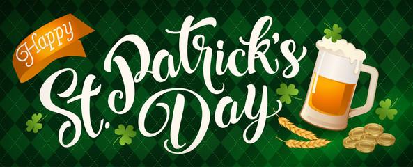 St. Patricks Day vintage holiday banner design. Vector illustration.