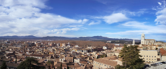 panoramic view of Girona, in Spain