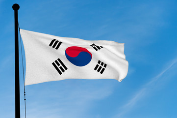 South Korea Flag waving over blue sky (digitally generated image)
