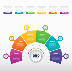 Business presentation or infographic with 6 options. Vector infographics or annual report with 6 parts of technology or education process. Web Template of a chart, info graphic, mindmap or diagram.