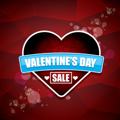 Valentines day heart shape sale label or sticker on abstract red background with blur lights. Vector sales poster or banner design template