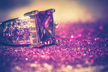 Silver Ring with Purple Zircon Retro