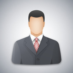 Icon or avatar of a businessman or office worker. Successful young man dressed in a gray business suit and red striped tie. Vector illustration