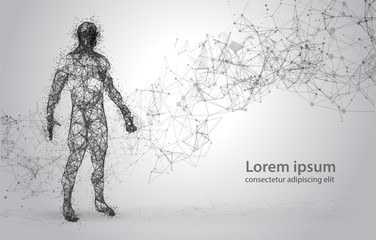 Abstract Wire frame human body. Polygonal 3d model on white background. Dots and Lines Low Poly