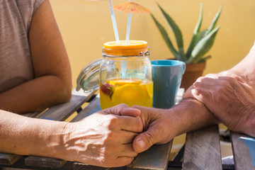 two old hands stay together with love