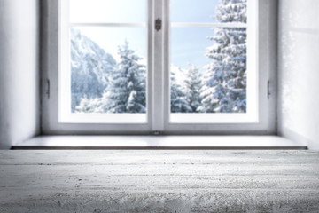 window of winter time and free space