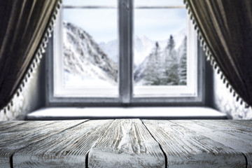 desk and winter window